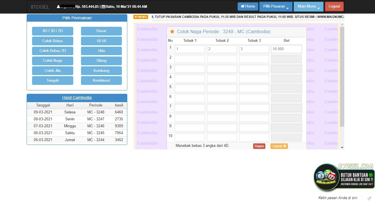<strong>Panel Bettingan Colok Naga Versi WEB Di 8Togel</strong>